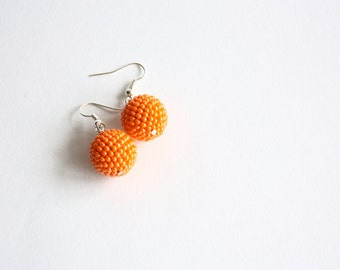 Orange beaded earrings - Seed beads earrings - Tangerine balls earrings
