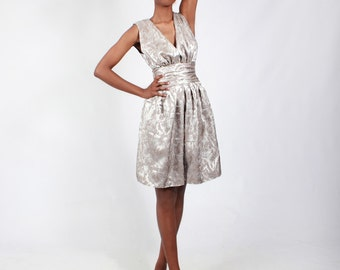 Metallic Champagne Light Brown Textured Silk Frock Dress UK Size 6  / US 2