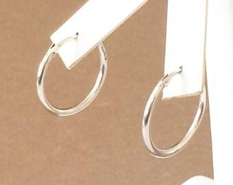 """Sterling Silver Solid Hoop Earrings 1"""""""