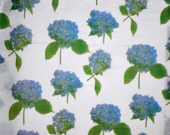 Blue Hydrangea Floral Tissue Paper # 213 ... 10 Large Sheets - Flowers - Gifts - Decoupage