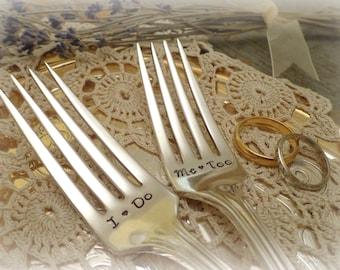 I Do Me Too Wedding Forks. Wedding Cake Fork Set. Custom Hand Stamped Vintage Silverware by PrettyAgnes.