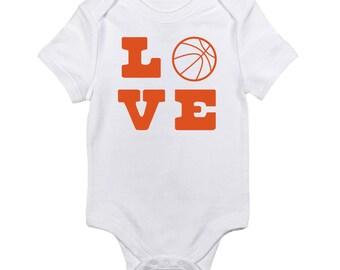 Basketball Love Baby Onesie. Basketball One Piece. March Madness Basketball Onesie