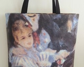 Canvas tote bags, Auguste Renoir printed painted copy, luxury tote bags, casual chic trendy beach bag, ladies handbag, hand made in France