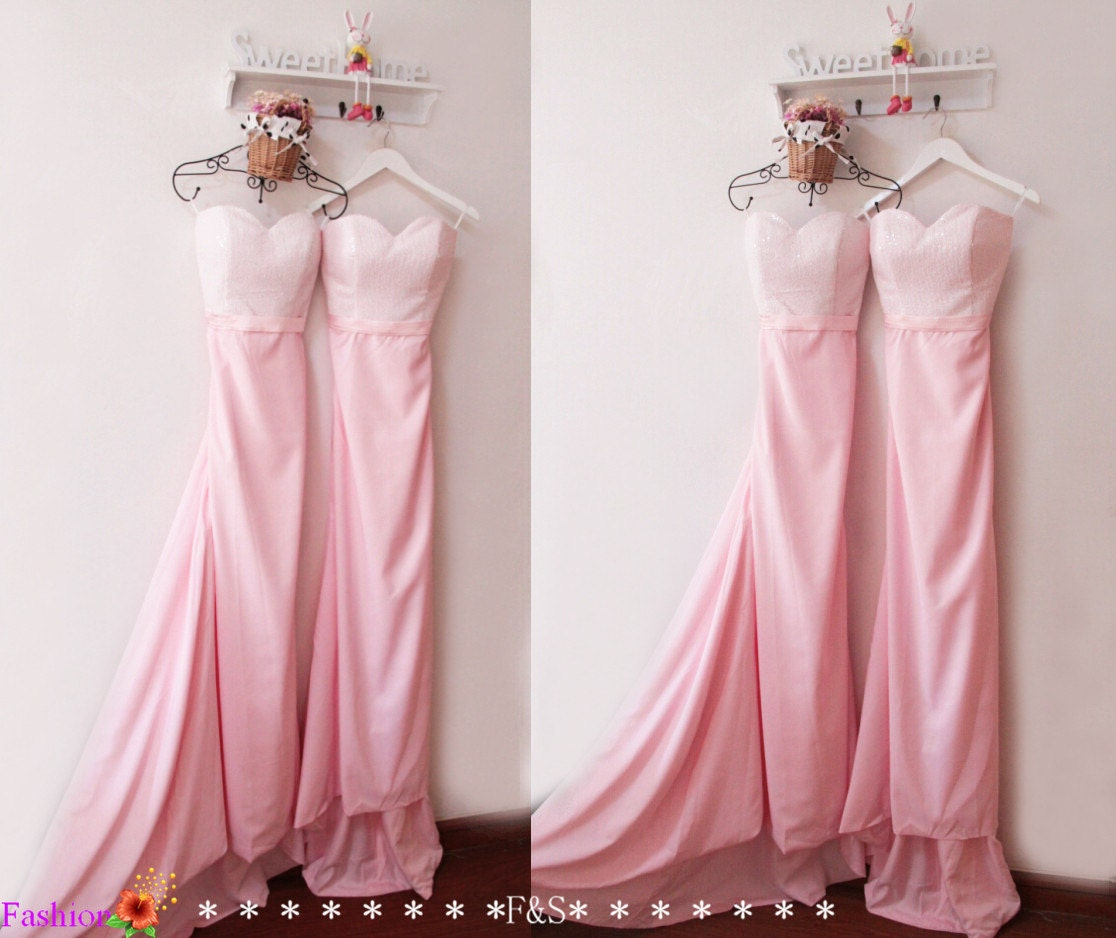 Long Pink Bridesmaid DressMermaid Sparkly Bridesmaid