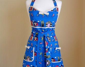 1950s Style Apron / Retro Apron / Vintage Style Apron / Beach Hut Apron / Blue Apron / Seaside Apron / Womens Apron / Handmade Apron