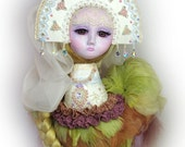 Art doll - OOAK Handmade - bird of paradise - 15 inch (37 cm) Sirin