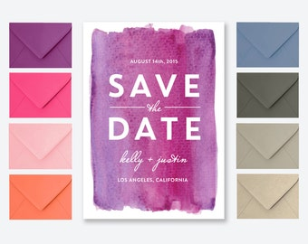 Modern Watercolor Save the Date Card or Postcard in Pink and Purple - Kelly Pink