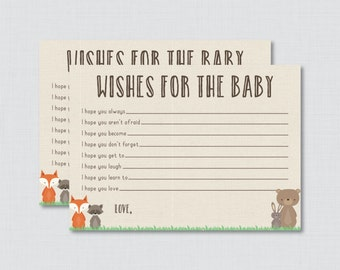 Wishes for Baby Baby Shower Activity Woodland Baby Shower Well Wishes for Baby Cards and Sign - Printable Instant Download - 0010