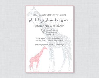 Giraffe Baby Shower Invitation Printable - Giraffe Baby Shower Invites in Pink and Gray, Girl Baby Shower Invitation - 0011-P