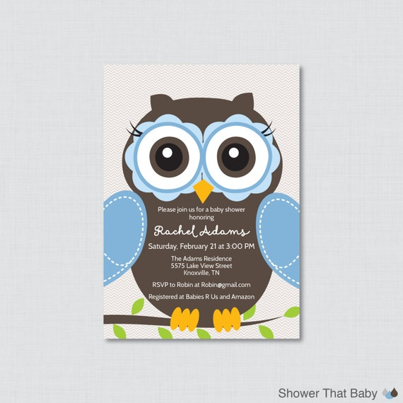 owl baby shower invitation printable or printed owl themed baby
