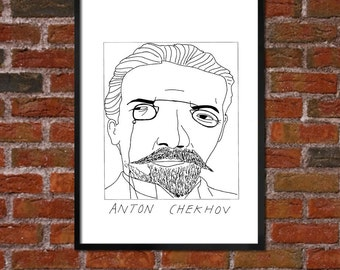 Badly Drawn Anton Chekhov - Literary Poster - *** BUY 4, GET A 5th FREE***