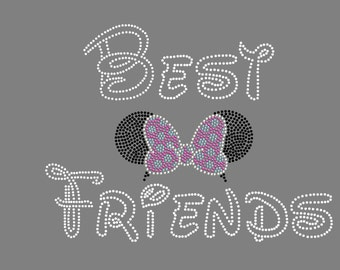 Disney Best Friends With Minnie Ears Rhinestone Iron On Transfer Hot Fix Bling