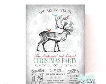 Rustic Holiday Party Invitations Holiday Invite Christmas Printables Christmas Invitations Invite Vintage  Printable No.525XMAS