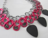 Pink and Black Soda Tab Choker with Black Guitar Picks!