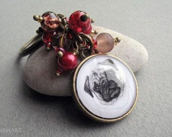Pug Beaded Key Ring, Pet Drawing, Pet Gift, Pug Keychain, Dog Art, Brown, Red, Dark Red, Cherry, Bronze