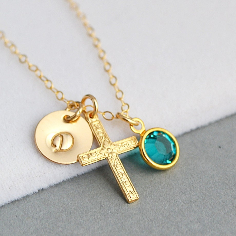 cross initial necklace personalized gold necklace cross