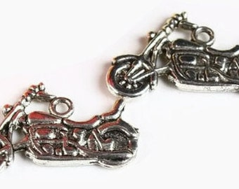 5 Motorcycle Charm Pendants- Cruiser Bike Antiqued Silver