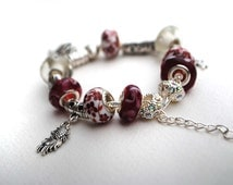 European Charm Bracelet Dark Red with Tibetan Silver Charm Beads - adjustable one size fits all