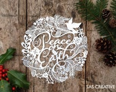 Silhouette Cameo SVG Papercutting file 'Peace On Earth' Christmas Design by Samantha's Papercuts