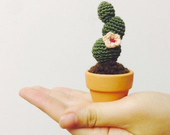 Crocheted Cactus--Mini Flat-padded--Army Green