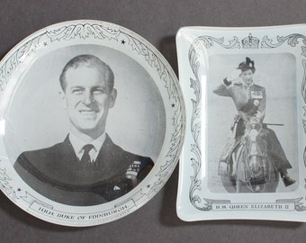 Vintage Royal Memorabilia British Royal Family 1950s 2 Glass Trinket Pin Trays Queen Elizabeth Prince Philip Collectable Home Decor