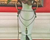 Half Off Genuine Emeralds, 34in Long Necklace, Hypoallergenic Metals, Artistisan Lantern Tassle, Bronze Chain, Gemstones