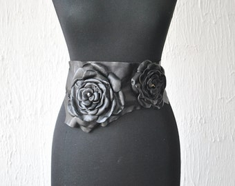Leather belts with flowers Leather Flower Belt Leather flowers Leather obi belt