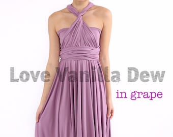 Bridesmaid Dress Infinity Dress Grape Knee Length Wrap Convertible Dress Wedding Dress