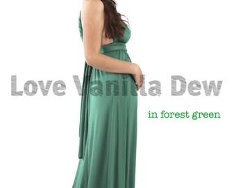 Bridesmaid Dress Infinity Dress Forest Green Floor Length Maxi Wrap Convertible Dress Wedding Dress