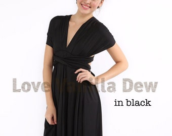 Bridesmaid Dress Infinity Dress Gem Black Knee Length Wrap Convertible Dress Wedding Dress