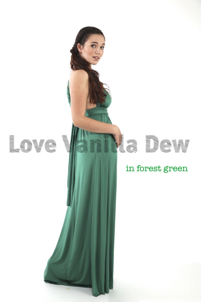 Bridesmaid dress infinity dress forest green floor length maxi for Forest green wedding dress