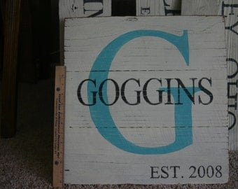 large personalized painted wood sign/ family wood sign, painted initial sign
