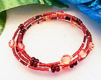 0616 - Memory Wire bracelet, memory wire jewelry, memory wire, burgundy seed bead, burgundy bead, glass bead, bead bracelet, wrap bracelet