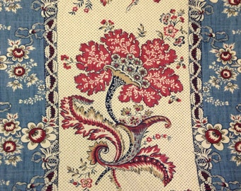 Red and Blue French Country Panel Fabric - Drapery Fabric