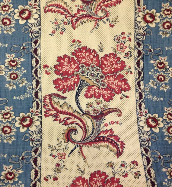 Red and Blue French Country Panel Fabric Drapery by