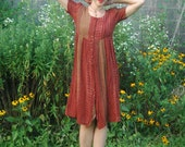 RESERVED FOR MAIRI *** Warm Earth Tones Babydoll Dress Size Small