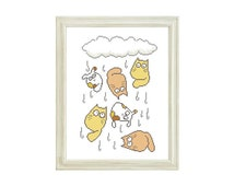 It's rain cats and dogs Pattern, Fanny Animal Pattern, Cross Stitch Cat and Dog Pattern, Cross Stitch For Children, PDF - PATTERN ONLY