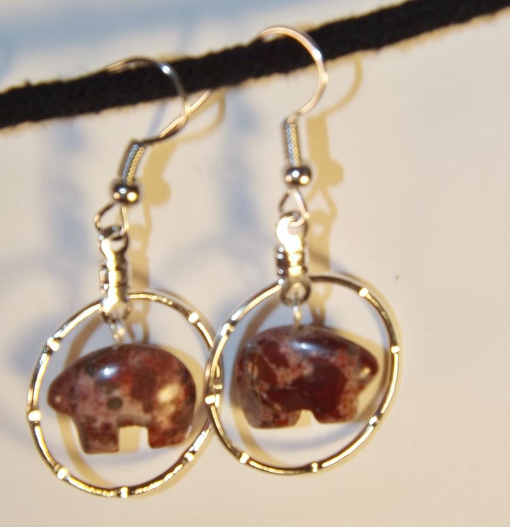 Zuni Earrings: Stone Zuni Bear Earrings Agate Zuni Bear Fetish