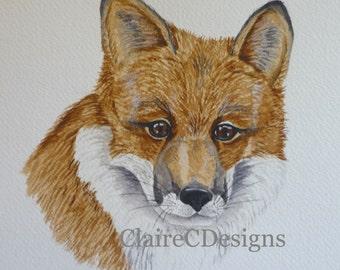 SALE Original Watercolour, Fox painting, Fox illustration, Fox watercolour, wildlife painting
