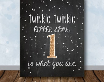 Twinkle Twinkle Party Decor, Gold Twinkle Twinkle Little Star Birthday Party, Chalkboard Sign with Age - Digital File
