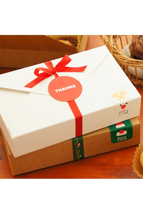 2 pcs White Paper Cookie Boxes 19.5cm x 12.5cm x 4cm Korean