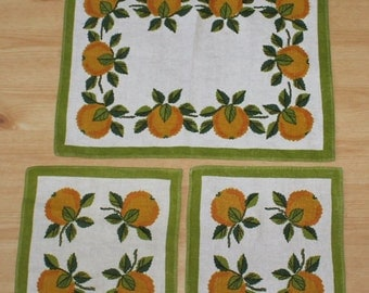 Set of 3 lovely Tablecloth with oranges. Designed by Hija, Sweden Scandinavian.