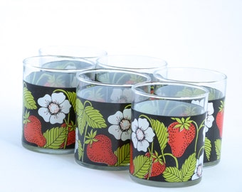 Strawberry flowery juice glasses from the 60's