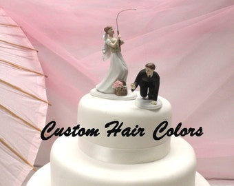 Personalized Wedding Cake Topper - Fishing Couple - Bride and Groom Wedding Cake Topper - Fishing Theme Wedding - Fishing Bride and Groom