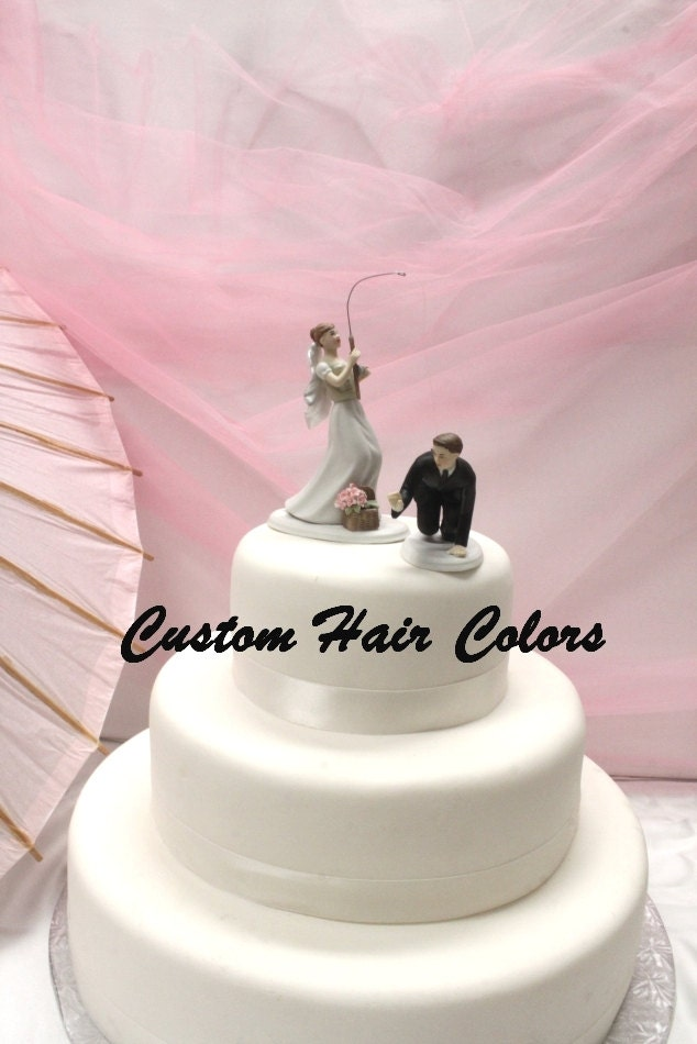 Personalized Wedding Cake Topper Fishing Couple Bride And