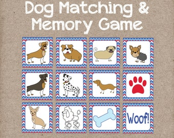 Dog Matching & Memory Game. Great Game for Toddlers and Preschoolers. Instant Digital Download.
