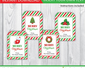Christmas favor tags / Christmas gift tag / Christmas label / printable Christmas decoration / editable Christmas favor tags / INSTANT