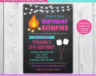 camp invitation / bonfire invitation / bonfire party invitations / smores invitation / bonfire birthday invitations / INSTANT DOWNLOAD