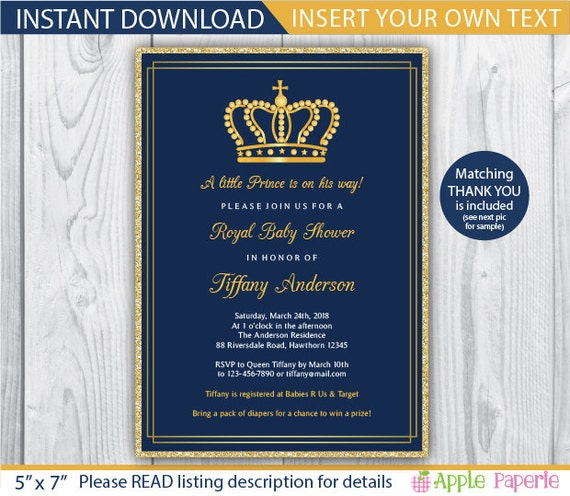 Baby Shower Invitation Boy Royal Invitation Royal Baby