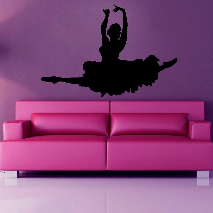 Ballet wall decals girl ballerina dance decals wall decor for Ballerina wall mural